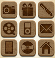 Wooden icons set vector image vector image