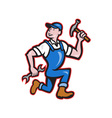 Carpenter Builder Hammer Running Cartoon vector image