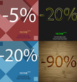 20 90 icon Set of percent discount on abstract vector image