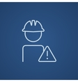 Worker with caution sign line icon vector image
