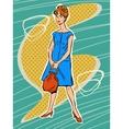 Beautiful woman in retro dress vector image