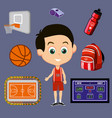 basketball signs set vector image