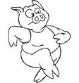 Black and white running cartoon pig vector image