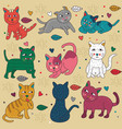 doodle set cats cute poses vector image