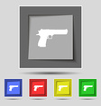 gun icon sign on original five colored buttons vector image