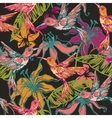 Hand drawn tropical background with colibri and vector image