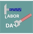 Happy labor day Wrench key and hammer with star vector image