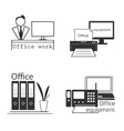 Icons set with Office equipment Modern logo vector image