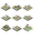 isometric cottages and mansions set vector image