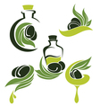 Green olive leaves bottles and oil Vector Image