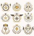 Heraldic decorative emblems made with royal vector image