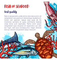 fresh seafood and fish food poster vector image vector image