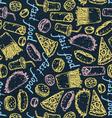 Fast Food Color Chalk Pattern vector image