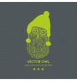 Print with cute and clever owl in scandinavian hat vector image