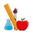 cartoon school supplies graphic vector image