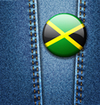 Jamaica Flag Badge On Jeans Denim Texture Vector Image