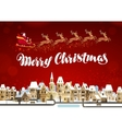 Merry Christmas Winter landscape with Santa Claus vector image vector image