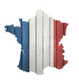 France Map With Wooden Flag vector image