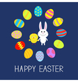 Cute bunny rabbit and chicken Round egg frame vector image