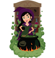 Witch cooks potion vector image vector image