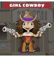 Cartoon character of Wild West - girl cowboy vector image
