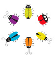 Cute bug circle round frame Funny cartton vector image