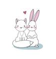 Cute cartoon fox and hare vector image