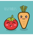 cartoon tomato and carrot vegetables design vector image