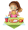 A hungry child eating vector image