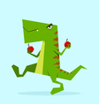 green dino in action 05 vector image vector image