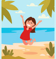 beautiful girl jumping happy on tropical beach vector image