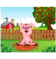 Cartoon cute baby pig in the garden vector image