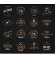 coffee vintage logos set freshly brewed caffeine vector image