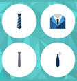 flat icon necktie set of collar suit necktie and vector image