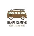 Happy camper logo design Vintage bus vector image