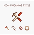 Icons worcking tools vector image