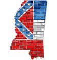 Mississippi map on a brick wall vector image