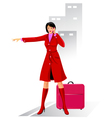 Business woman stops a taxi vector image