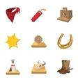 Cowboys icons set cartoon style vector image