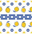 blue and white lemon mediterranean seamless tile vector image