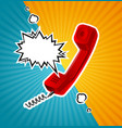 retro red phone tube in comic style with vector image vector image