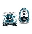 Marine emblems with lighthouse and compass vector image vector image