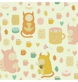 Childish seamless background with monsters vector image