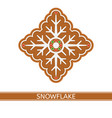 gingerbread snowflake isolated vector image