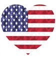 Poly art american flag in heart shape on white vector image
