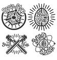 Vintage scientific shops emblems vector image