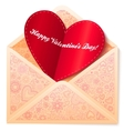 ornate envelope with red paper heart vector image