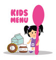 kids menu girl holding spoon food vector image