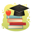 Traditional graduation hat books isolated vector image vector image