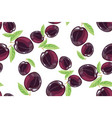 plum fruits sketch drawing seamless pattern vector image